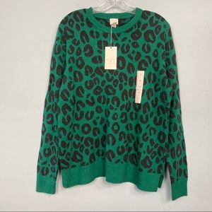 A New Day Green Animal Print Pullover Knit Sweater